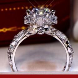 Divat gyönyörű luxus virág eljegyzési esküvői gyűrű női ékszer ajándék