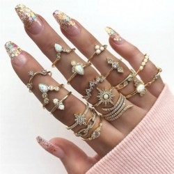 17db / készlet Divat bohém drágakő arany üreges geometriai gyűrűk női ékszer ajándék