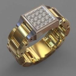Divatos kreatív karóra alakú férfi gyűrű, méretű 6-10 férfi ékszer ajándék