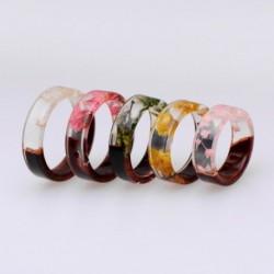 Fa gyanta gyűrű átlátszó epoxi divat kézzel készített szárított virágok növények belső romantikus ajándékok