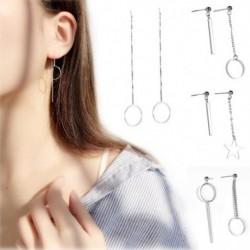 Elegáns egyszerű ezüst hosszú bojt fülbek koreai stílusú medál lógó fülbek divatos ékszerek nők számára