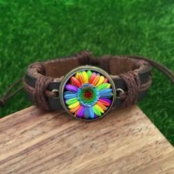 Színes szivárvány virág Gay Pride barna üvegbőr és akkord Karkötő varázsa