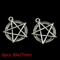 6db retro stílusú Finom és kedves pentagram divatos Charm medál 30x27mm