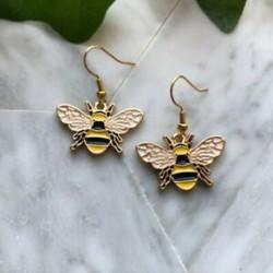 Méh fülbevalók, méh zománc fülbevalók