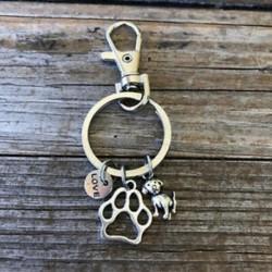 Kézzel készített Crazy Dog Lady Charm kulcstartó kulcstartó Szeretlek kutyák szerencsés hullámzó
