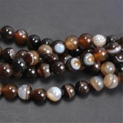 Coffee Stripe Agage - Természetes drágakő kerek kő laza gyöngyök tétel 4mm 6mm 8mm 10mm barkács ékszerek készítése