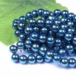 Metallic Blue - Természetes drágakő kerek kő laza gyöngyök tétel 4mm 6mm 8mm 10mm barkács ékszerek készítése