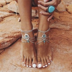 No color - Boho türkiz mezítláb szandál strand boka láblánc ékszerek boka karkötő