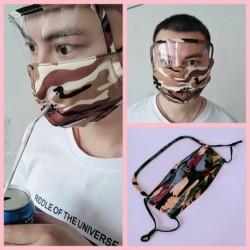 Divat Unisex álcázó szájmaszk Mosható többször használható arc pamut