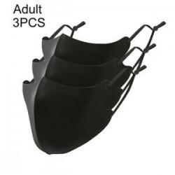 Felnőtt fekete normál - 3db felnőtt ÚJRAFELHASZNÁLHATÓ  állítható fülhorog mosható száj MASZK divatos