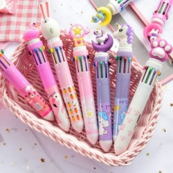 10 szín aranyos állat rajzfilm golyóstoll iskolai irodai kellékek írószer ajándék