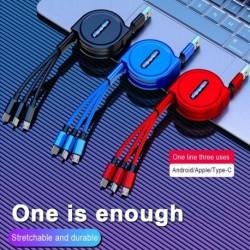 3 az 1ben USB töltőkábel iPhone és Micro USB és C típusú kábelhez Behúzható hordozható töltőkábel 2.5A