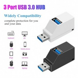 3 portos USB hub nagy sebességű elosztó Plug and Play busz fekete színnel