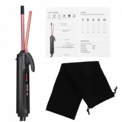 3/8 hüvelykes hajsütővas LCDkijelzővel és tároló táskával, 9 mmes 360 fokos kerámia hordó hajsütő pálca hosszú
