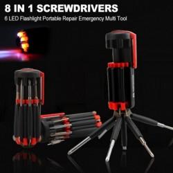 8 az 1ben csavarhúzó 6 LEDes zseblámpával, hordozható javítási sürgősségi multi eszköz