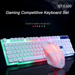 Színes LED háttérvilágítású USB vezetékes játék billentyűzet egér készlet gamer gamer egér és billentyűzet
