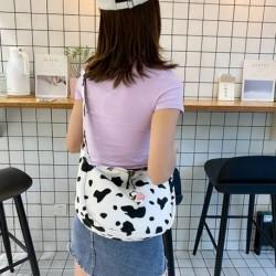 Divat női aranyos tehén minta vászon hordozható sokoldalú Messenger táska női vászon táska melltáska válltáska