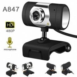 HD élő közvetítésű webkamera, USB asztali és Laptop 480P Mini Plug and Play videohívó rugalmas forgatható klip