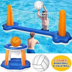 Felfújható úszómedence készlet, röplabda háló és kosárlabda karika, úszó játék játék gyerek és felnőtteknek
