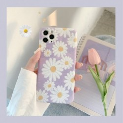 ins Purple Daisy Flowers mobiltelefon tok iPhone 11 Pro Max XR X XS Max iphone SE 6 7 8 Plus hátlaphoz Puha tokok