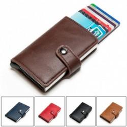 Férfi RFID blokkoló vékony pénztárca bőr pénz hitelkártya tartó klip férfi pénztárca