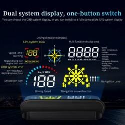 OBD2 HUD GPS autós fejjel megjelenő szélvédő kivetítő sebességmérő biztonsági riasztó víz olajhőmérséklet RPM
