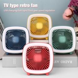 3 nyári sebességű USB újratölthető retro stílusú hűvös mini ventilátor TV típusú ventilátor LEDes fényű asztali