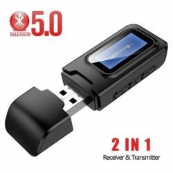 USB Bluetooth 5.0 audio vevő adó LCD kijelzővel 2 IN 1 3,5 mmes AUX adapter TV autós számítógéphez