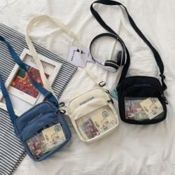 Női divat retro stílusú vászon válltáska átlátszó rajzfilm messenger táska