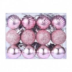 rózsaszín - 24X Glitter Xmas Tree Hanger Baubles díszgömbök karácsonyi dekoráció törésálló
