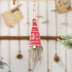 fehér - Karácsonyi arctalan gnóm Mikulás karácsonyfa lógó díszbaba dekorációs ajándék jc