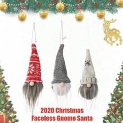 szürke - Karácsonyi arctalan gnóm Mikulás karácsonyfa lógó díszbaba dekorációs ajándék jc