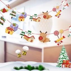 1db 2m hosszú Karácsonyi függő dekoráció - girland - Mikulás - Rénszarvas - Házikó - Ajándék mintás