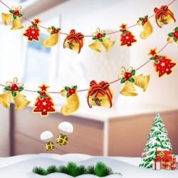 1db 2m hosszú Karácsonyi függő dekoráció - girland - Karácsonyfa - Ajándék - Száncsengő mintás