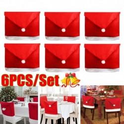 Nincs szín - 6x karácsonyi székek hátlap vacsoraasztal Mikulás sapka fesztivál dekor ajándék