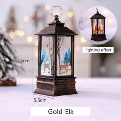 Arany-Elk - Karácsonyi LED-es függő lámpa Mikulás jávorszarvas lángfényű lakberendezési karácsonyi lámpa