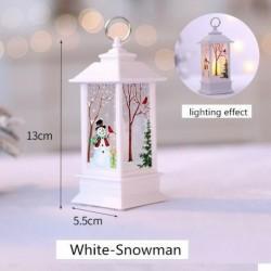 Fehér-Hóember - Karácsonyi LED-es függő lámpa Mikulás jávorszarvas lángfényű lakberendezési karácsonyi lámpa