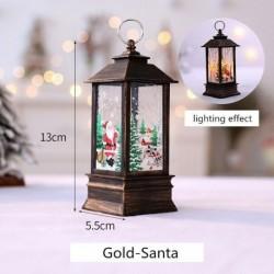 Arany-Mikulás - Karácsonyi LED-es függő lámpa Mikulás jávorszarvas lángfényű lakberendezési karácsonyi lámpa