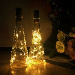 Meleg fehér - LED parafa 20 lámpával egy húros palack dugó lámpa fény esküvői események 2M