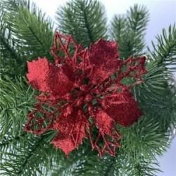 Piros - 10x karácsonyi Mikulásvirág csillogó virágfa függő karácsonyi party dekorációs ajándék