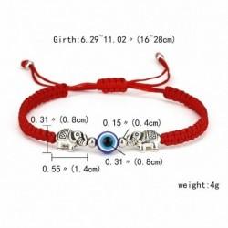 17-dupla elefánt - Szerencsés piros kötél kék gonosz szem kristály gyöngyös karkötő karperec varázsa kézzel