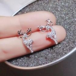 Nincs szín - Divatos jávorszarvas szarvas cirkónium fülbevalók csepp dangle stud karácsonyi női ékszerek karácsony