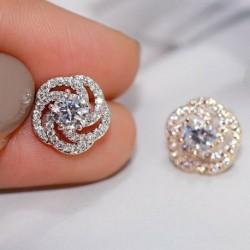 Nincs szín - Divat ezüst rózsa cirkónium fülbevalók csepp dangle stud női nászékszer ékszerek karácsony