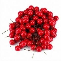 Piros - 100db mesterséges vörös magyal bogyós dísz DIY kézműves kiegészítők karácsonyi dekoráció
