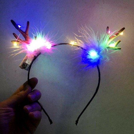 * 2 - Divat LED szarvas kürt világít fejpánt villogó kürt halloween és karácsonyi party