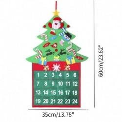 karácsonyfa - Karácsonyi adventi naptárfa függő karácsonyi zseb visszaszámláló kijelző dekoráció