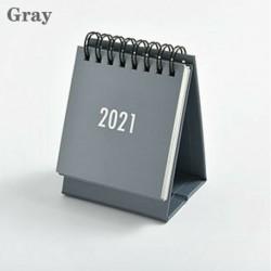 Szürke - 2021 Egyszerű fekete-fehér szürke sorozatú asztali naptár kettős napi menetrend USA