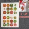 * A: 5 lap - 120db karácsonyi adventi visszaszámláló naptár matricák számai ajándéktáska címkecsomagolások