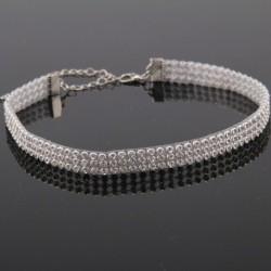 10mm - Divat női teljes gyémánt kristály strassz fojtó nyaklánc esküvői ékszerek
