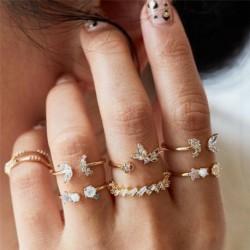 7db / 3. szett arany - 20db Boho verem sima felett csülök gyűrű Midi ujjhegy gyűrűk készlet ezüst / arany